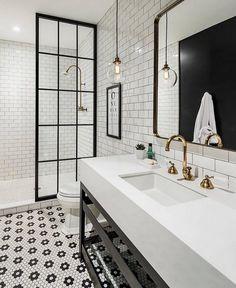 """216 Likes, 2 Comments - ZINC DOOR (@zincdoor) on Instagram: """"Simple black and white bathroom with brass accents  #regrant via @beckiowens @zincdoor #zincdoor…"""""""