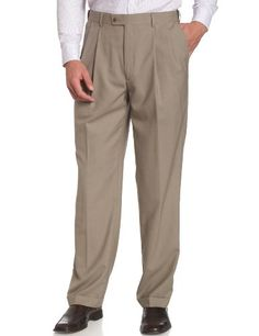 Men's Fashion Louis Raphael LUXE Men's 100% Wool Pleated Hidden Extension Dress Pant,Khaki,36x29 >>> Read more  at the image link.