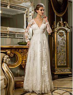 Wedding Dress Sheath Column Floor Length Ruched Tulle Lace V... – USD $ 159.99