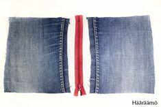Hääräämö: Farkkupenaalista kolme versiota + ohje Denim Bag, Denim Jeans, Pencil Case Tutorial, Jean Crafts, Needle And Thread, Sewing Projects, Sewing Patterns, Purses, Pencil Cases