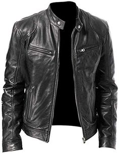 VearFit Cartious Qualited Black Biker Motorcyle Real Lambskin Leather Jacket Men