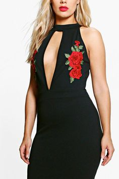 Plus Harley Embroidered Plunge Midi Dressalternative image
