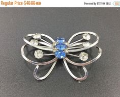 SALE Large Sterling Butterfly Brooch signed Anthony Sterling. Vintage Silver Butterfly Brooch with multi faceted blue clear crystals. Fine by TheOldJunkTrunk
