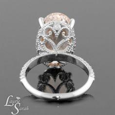 Morganite Engagement Ring, Peach Morganite Engagement Ring, Morganite Ring, Diamond Halo Rings, Statement Rings, White Gold Engagement Rings...
