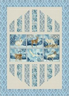 """""""Reflections"""" quilt designed by Mountainpeek Creations. Features Winter White and Quilter's Linen Metallic. I don't like this quilt but I like the layout design Easy Quilts, Small Quilts, Quilt Block Patterns, Quilt Blocks, Quilting Projects, Quilting Designs, Quilting Ideas, Patchwork Designs, Fabric Panel Quilts"""