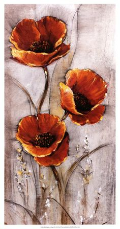 Red Poppies on Taupe I by Timothy O'Toole - Malerei Poppy Flower Painting, Oil Painting Flowers, Watercolor Flowers, Flower Art, Watercolor Art, Arte Floral, Red Poppies, Acrylic Art, Botanical Art