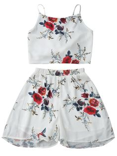 Blusa Corta de Flores sin Espalda con Shorts de Gasa - Blanco L Two Piece Outfit, Two Piece Skirt Set, Lovely Dresses, Chiffon Tops, White Shorts, Backless, Cute Outfits, Crop Tops, Clothes