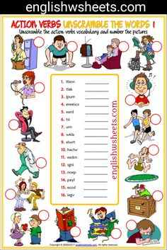 Action Verbs Esl Printable Unscramble the Words Worksheets For Kids #action #verbs #actionverbs #esl #Printable #Unscramble #words #Worksheets #language #arts #languagearts