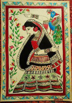Madhubani painting on canvas - Village belle  Painting  - Village belle  Fine Art Print