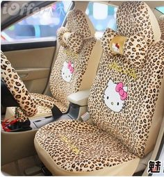 "I have these HK Covers in my car.  My 17 year old son hates them, says I ruin his ""game"" when I take him to school  I tell him to then, he should WALK! SeatCovers.  #HelloKittyLeopardd"