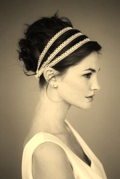 chignon + headband- love the lace My Hairstyle, Bride Hairstyles, Pretty Hairstyles, Greek Hairstyles, Grecian Hairstyles, Hairstyle Ideas, Perfect Hairstyle, Hairstyle Tutorials, Simple Hairstyles