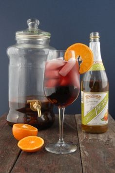 Autumn Sangria. Fall fruits soaked in red wine, finished with sparkling pear juice.
