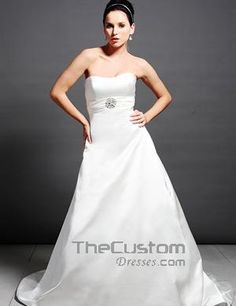 A-line Strapless Cathedral Satin Silk Like Satin Wedding Dresses 15503077