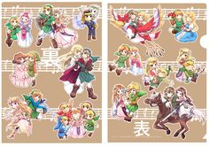 Link and Zelda over the years