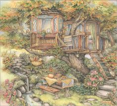 Tree House by Kim Jacobs Glitter Graphics, Colouring Pages, Coloring Book, Adult Coloring, Illustrations, Cute Illustration, Home Art, Fantasy Art, Fine Art Prints