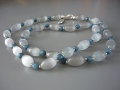 Necklace: Grey Opals and faceted blue natural by ImagineJewellery