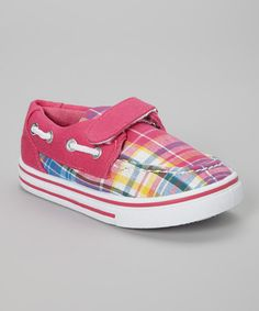 Another great find on #zulily! Peach & Pink Plaid Slip-On Sneaker by SYKE #zulilyfinds