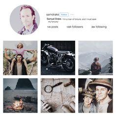 Samuel Drake Instagram by bio--shocked on Tumblr (Uncharted)