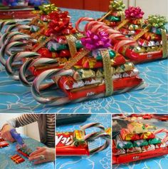 Chocolate Candy Cane Santa Sleighs, cute gifts when you need more than one and less than a 100.  Make them for nieces and nephews .