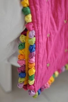 fabric edging idea {use this edging idea when attaching a fabric  backing to a crocheted afghan/blanket}