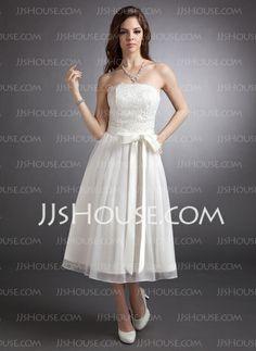 Wedding Dresses - $139.99 - A-Line/Princess Strapless Tea-Length Chiffon Satin Lace Wedding Dress (002020879) http://jjshouse.com/A-Line-Princess-Strapless-Tea-Length-Chiffon-Satin-Lace-Wedding-Dress-002020879-g20879