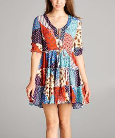 Brown & Blue Paisley Tiered Tunic Dress - Plus