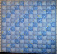 Объёмный квилт в голубых тонах. Квилт-пухлячок. Bubble quilt. Puff quilt. Bisquit quilt.