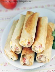 Chubby Chicken and Cream Cheese Taquitos- these look soooo yummy I Love Food, Good Food, Yummy Food, Appetizer Recipes, Appetizers, Dinner Recipes, Great Recipes, Favorite Recipes, Snacks