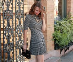Kimberly of Penny Pincher Fashion looking fab in the LT Drop Waist Houndstooth