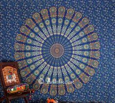Large Indian Mandala Hippie Hippy Tapestry Wall von AdishwarRobe