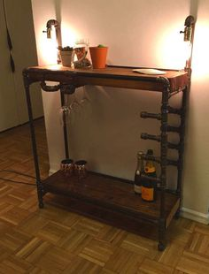 Industrial Iron Pipe Bar Cart with Wine Glass and Bottle