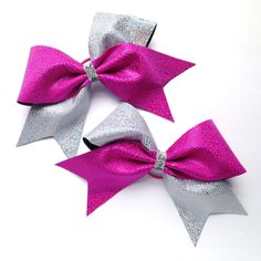 Pink and silver tick tock junior size cheer bow piggy tail pair with small hair ties