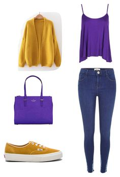 """""""I chose these colors for split-complementary. My colors are yellow-orange, blue and violet. The shoes match with the cardigan and the bag with the shirt. I really like the cardigan, because it is classic but the color it makes it special"""