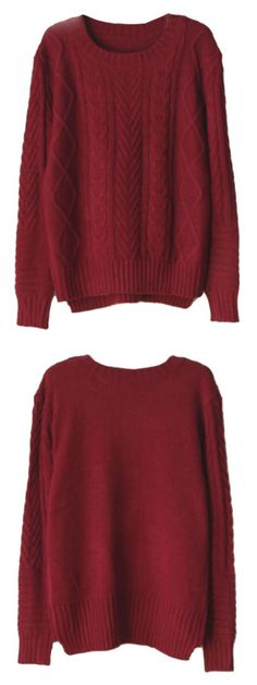 Burgundy High-low Cable Sweater