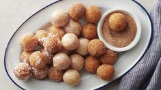 (Using our kitchen-tested method, you can have warm, sugary, homemade doughnut holes in a snap. Bakery Recipes, Donut Recipes, Brunch Recipes, Breakfast Recipes, Dessert Recipes, Pancake Recipes, Desserts, Brunch Ideas, Breakfast Dishes