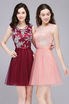 MisShow Crew Neck Sleeveless Lace Tulle A Line Short Bridesmaid Cocktail Gowns * You could get additional details at the picture web link. (This is an affiliate link). 8th Grade Prom Dresses, Homecoming Dresses 2017, Bridesmaid Dresses, Wedding Dresses, Junior Cocktail Dresses, Cocktail Gowns, Elegant Dresses, Beautiful Dresses, Dress Outfits