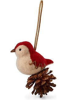 Felted bird atop a pine cone DIY Christmas ornament. Repinned by www.mygrowingtraditions.com