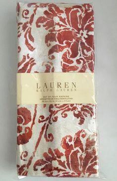 Ralph Lauren Cloth Napkins NEW 4 Buff Point Rust Floral Christmas Holiday  #RalphLauren