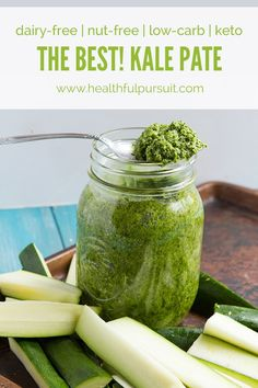 The Best! Kale Pate and Spread. An inexpensive way to make eating raw vegetables fun with this flavorful kale pate and spread thats low-FODMAP. No garlic. Vegan Keto Recipes, Ketogenic Recipes, Diet Recipes, Real Food Recipes, Kale Recipes, Vegetarian Keto, Nut Free, Grain Free, Dairy Free