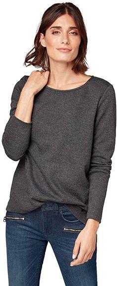 Schickes Teil!  Bekleidung, Damen, Sweatshirts & Kapuzenpullover, Sweatshirts Damen Sweatshirts, Toms, Tom Tailor, Charcoal, Sweaters, Fashion, Hoodie, Chic, Summer