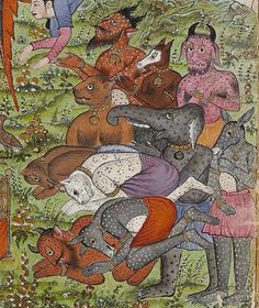 "Princeton University Library, Islamic Manuscripts, Garrett no. 82G. Qazwini, ʻAjāʾib al-makhlūqāt wa-gharāʾib al-mawjūdāt. ""The copy (or the text?) is dated Ṣafar 895 [1489] or 865 [1460] and signed ʻAbd Allāh son of ʻAlī Bey Damāvandī in the colophon (fol. 240a). According to Moghadam, illustrations and binding probably from 18th century India."""