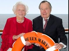 Cruise Planners - President George H. Bush & Former First Lady Barbara Bush Sail First Transatlantic Crossing aboard Cunard's Flagship Queen Mary 2 Presidents Wives, American Presidents, American History, American Soldiers, British History, Native American, Barbara Pierce Bush, Barbara Bush, First Lady Of America