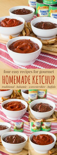 4 Easy Recipes for Gourmet Homemade Ketchup - it takes just minutes to make homemade condiments. Traditional, Balsamic, Worcestershire and Buffalo Ketchup recipes start with a can of tomat (Vegan Dip For Chips) Homemade Ketchup, Homemade Sauce, Homemade Butter, Easy Recipes, Easy Meals, Cooking Recipes, Healthy Recipes, Amazing Recipes, Balsamic Vinegarette