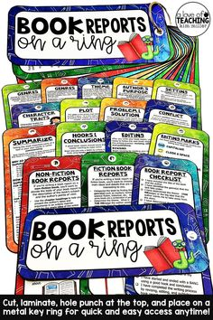 These Book Report Reference Guides are the perfect guides for writing book reports. Use these in writing centers, reading centers, small groups, or place in a central location where the teacher and students can access them when needed. Laminate, hole punch at the top and put on a metal key ring for fast and easy access to book report guides and examples - anytime!