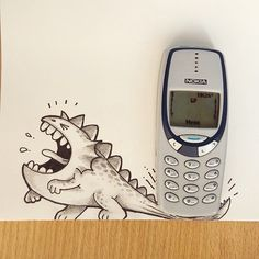 Drogo got stuck by Nokia... Forever =)   Toons in Real World - By: @maniknratan   #toonsinrealworld #drogo