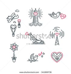 Little love theme line illustrations. Isolated vector St.Valentine's day and wedding icons' set.  - stock vector