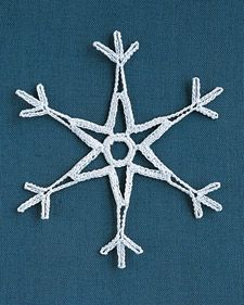 Detailed instructions, describing how to make crocheted snowflakes, from Martha Stewart