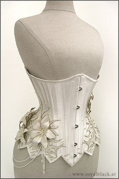 """White Lilies"" Underbust Corset by Royal Black Couture"