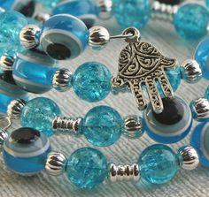 Baby Blue Evil Eye Blue Cracked Glass Hamsa by anjalicreations, $16.00