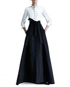 B1Z5J Carolina Herrera Shirtwaist Taffeta Ball Gown